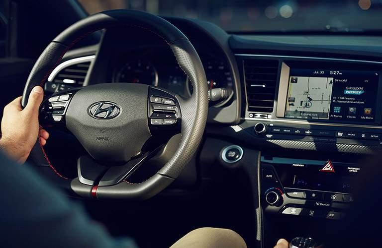 2018 Hyundai Elantra steering wheel and dash