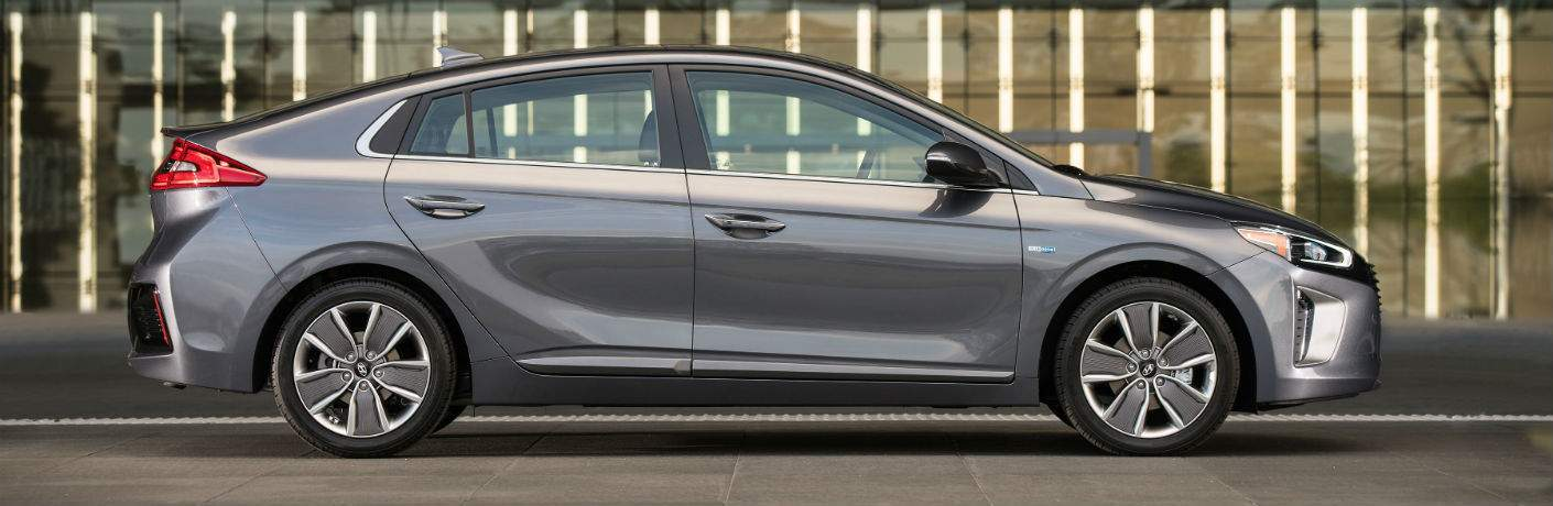 Exterior side view of a gray 2018 Hyundai Ioniq Hybrid