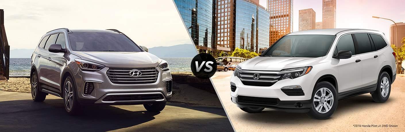 "Gray 2018 Hyundai Santa Fe on the left ""vs"" White 2018 Honda Pilot on right"