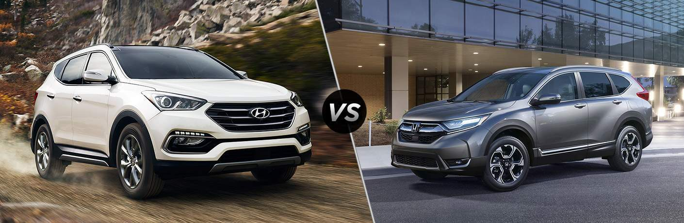 "Passenger side exterior view of a white 2018 Hyundai Santa Fe Sport on the left ""vs"" a driver side exterior view of a gray 2018 Honda CR-V on the right"