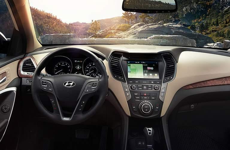 2018 Hyundai Santa Fe  steering wheel and windshield