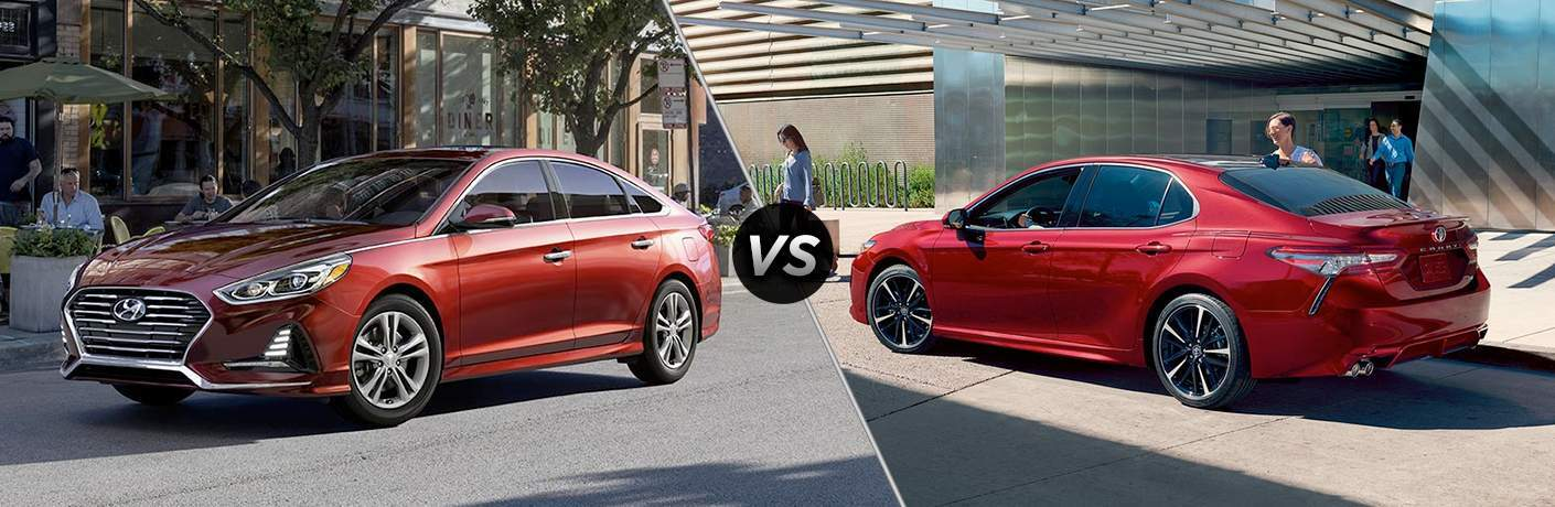 "Driver side exterior view of a red 2018 Hyundai Sonata on left ""vs"" Driver's side exterior view of red 2018 Toyota Camry on right"
