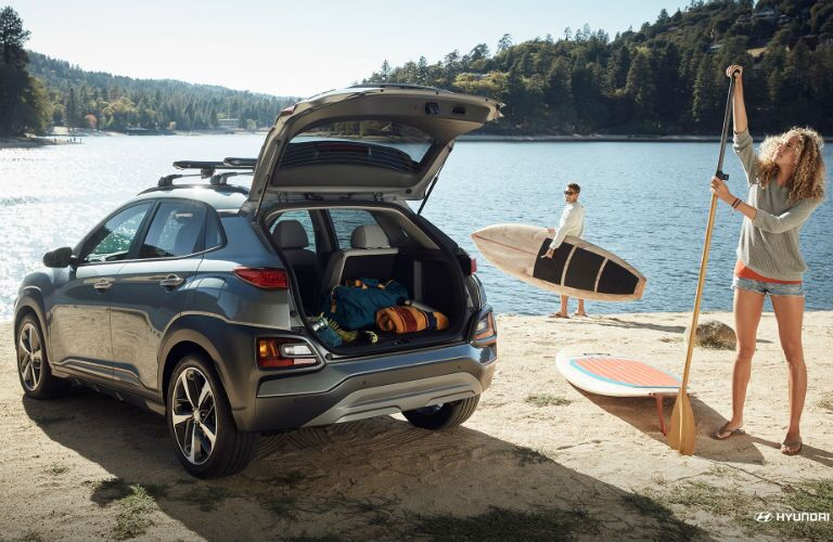 Rear tailgate of the 2018 Hyundai Kona open and filled with cargo
