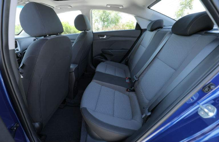 Side view of the 2018 Hyundai Accent's rear seat