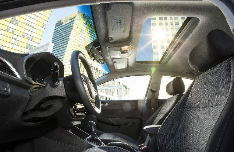 Side view of the 2018 Hyundai Accent's front seats