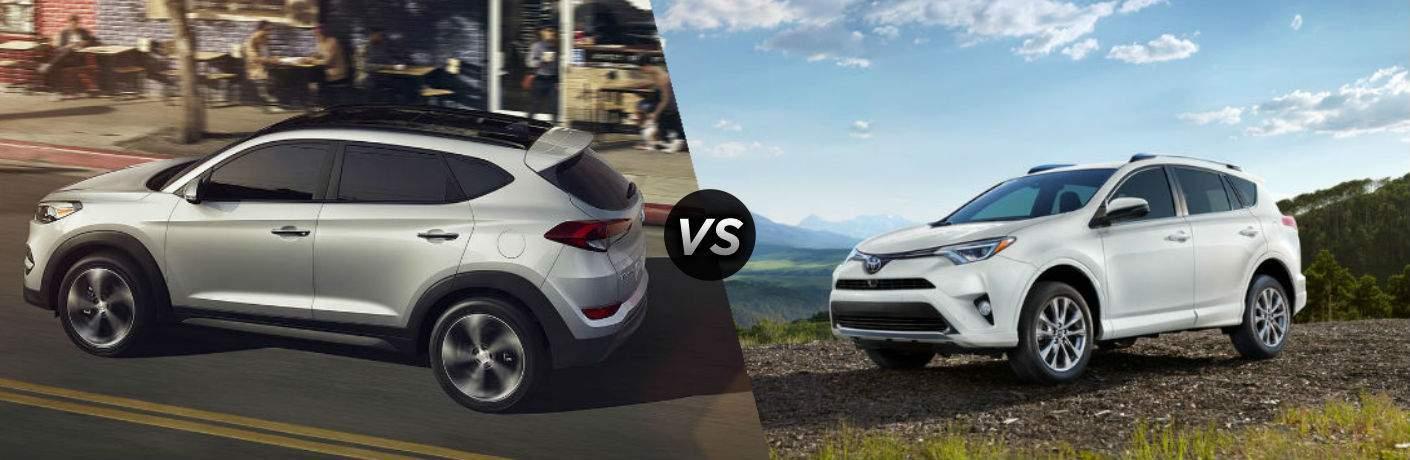 "exterior side view of a gray 2018 Hyundai Tucson on the left ""vs"" exterior side view of a white 2018 Toyota Rav4"