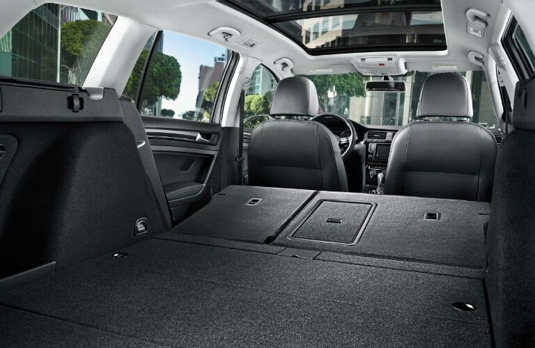 2017 vw golf sportwagen cargo space with rear seats folded down