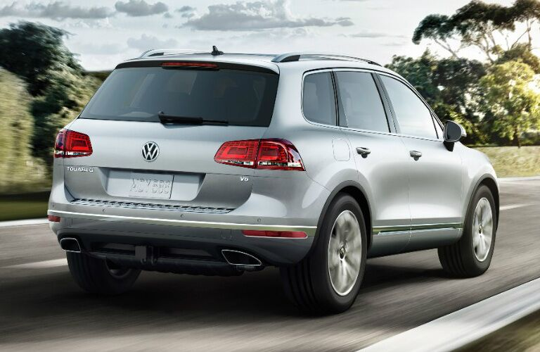 Silver 2017 Volkswagen Touareg driving along road