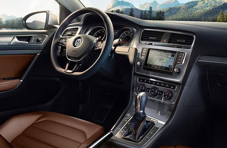 2018 Volkswagen Golf Alltrack Steering Wheel, Gauges, Touchscreen and Brown Driver's Seat