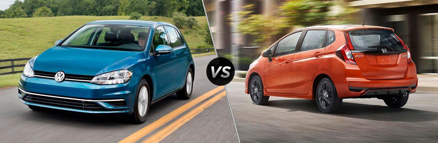 Blue 2018 Volkswagen Golf, VS Icon, and Orange 2018 Honda Fit