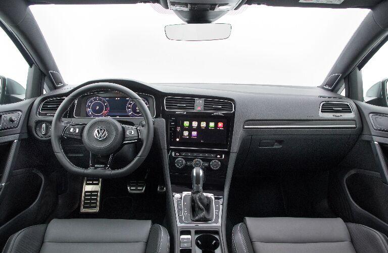 Dashboard and Dark Grey Front Seats of 2018 Volkswagen Golf R