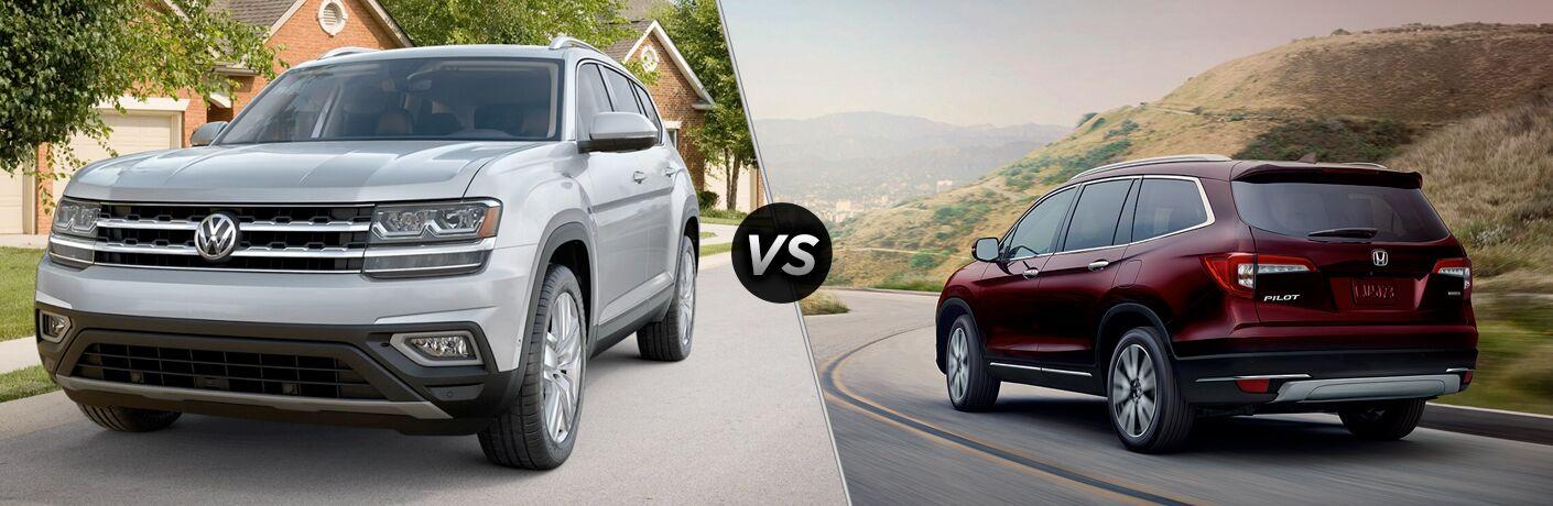 Silver 2019 Volkswagen Atlas, VS icon, and maroon 2019 Honda Pilot
