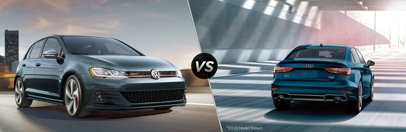 Blue-grey 2019 Volkswagen Golf GTI, VS icon, and blue 2019 Audi A3
