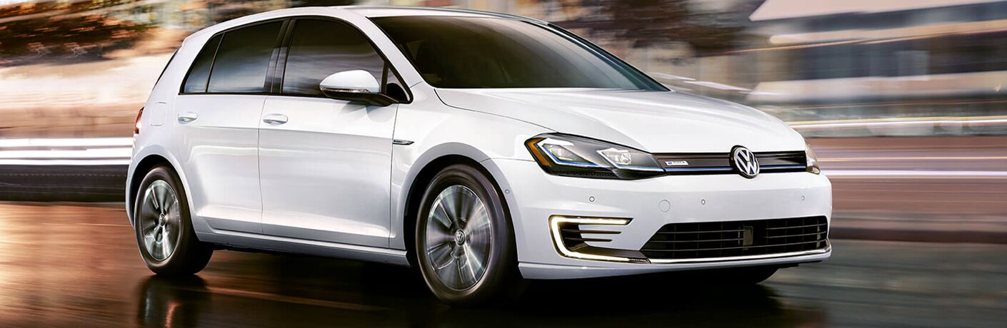 Front view of white 2019 Volkswagen e-Golf