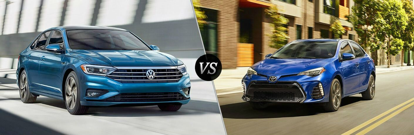 Blue 2019 Volkswagen Jetta, VS Icon, and Blue 2019 Toyota Corolla