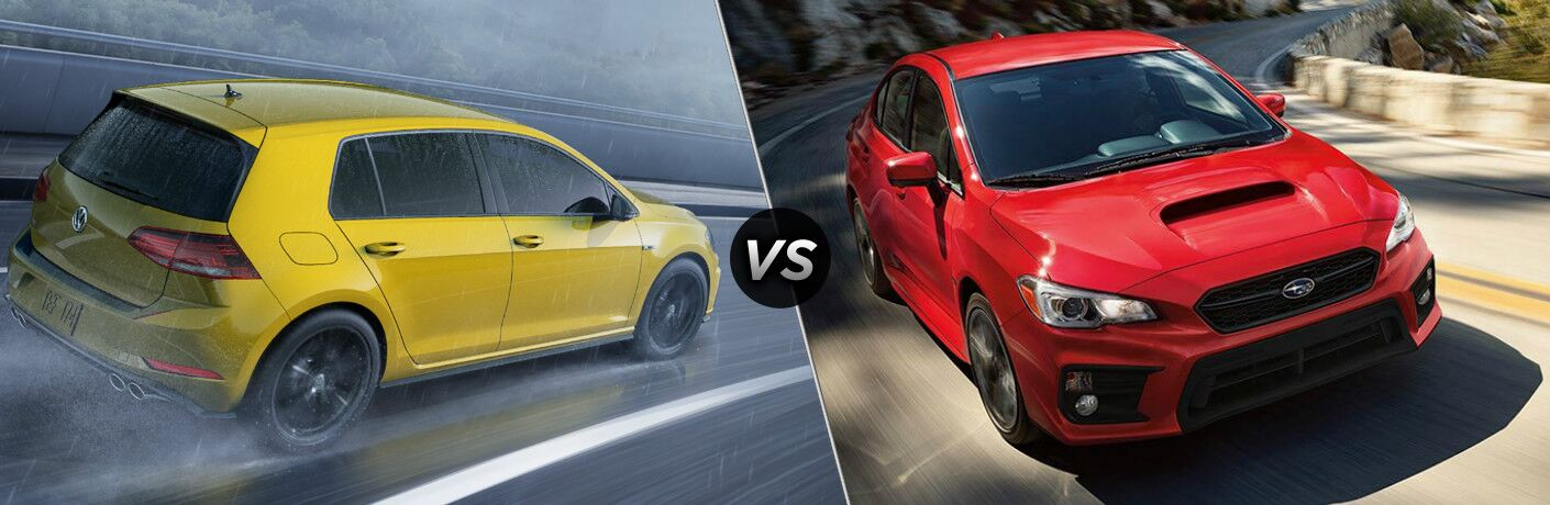 Yellow 2019 Volkswagen Golf R, VS icon, and red 2019 Subaru WRX