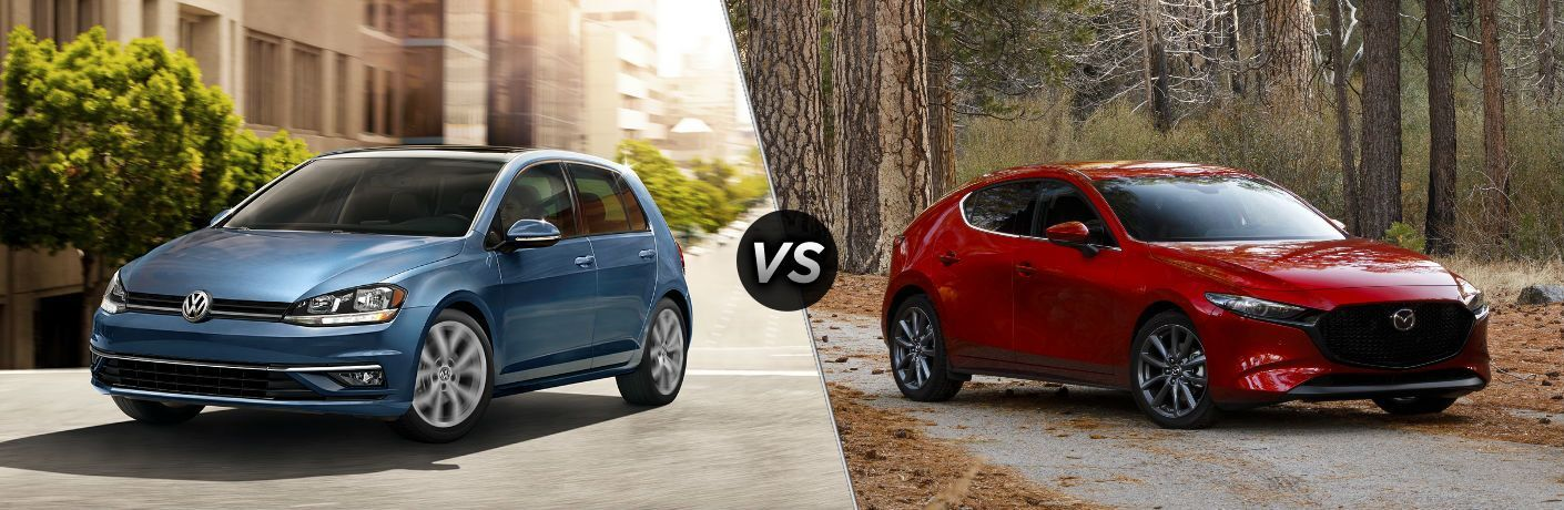 Blue 2019 Volkswagen Golf, VS icon, and red 2019 Mazda3 Hatchback