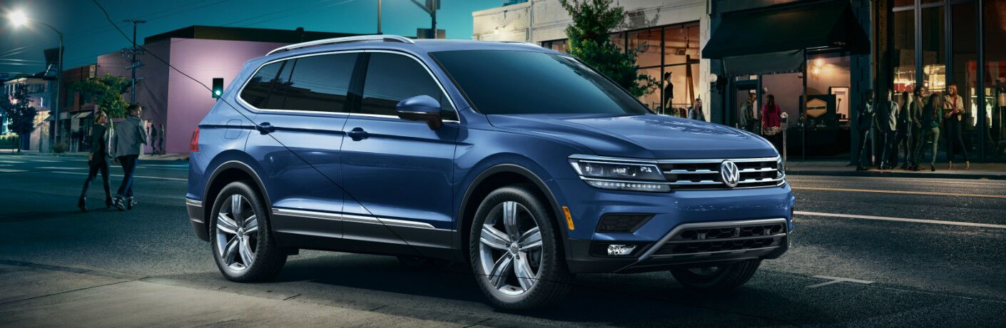 Blue 2019 Volkswagen Tiguan Parked on a City Street