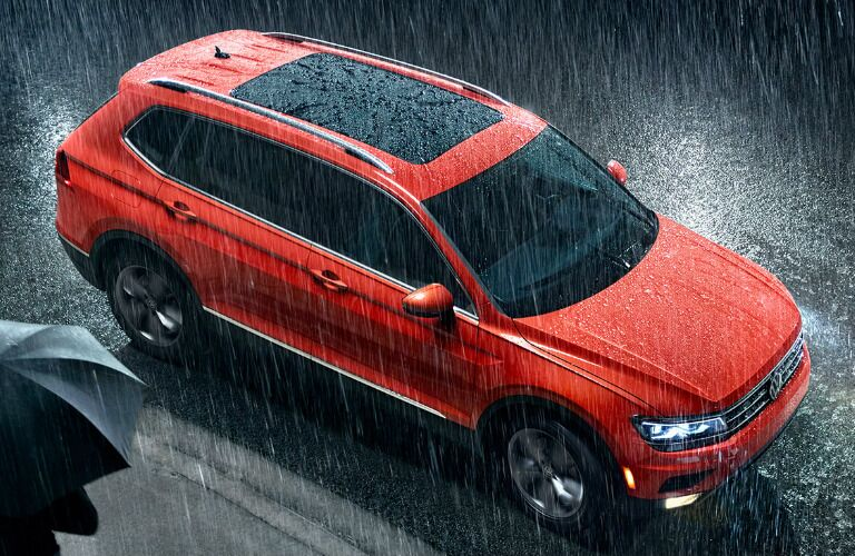 Overhead View of Orange 2019 Volkswagen Tiguan in the Rain