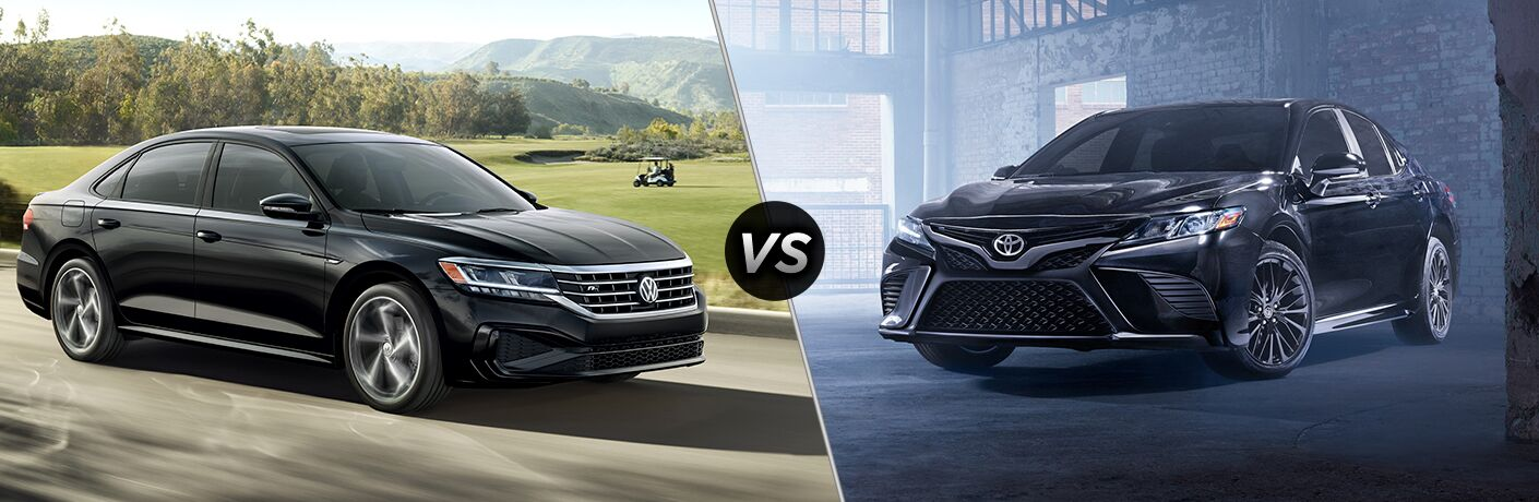 Black 2020 Volkswagen Passat, VS icon, and black 2019 Toyota Camry