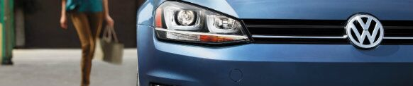 blue volkswagen golf grille design and logo