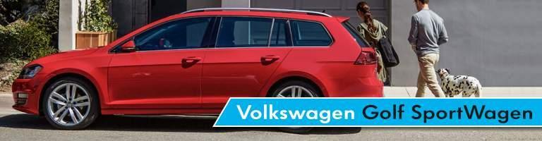 Volkswagen Golf SportWagen Title and 2017 Volkswagen Golf SportWagen and Man, Woman and Dog