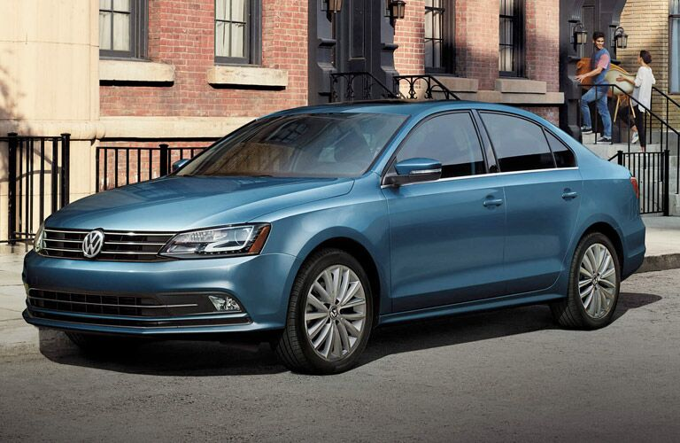 front view of 2017 vw jetta in blue