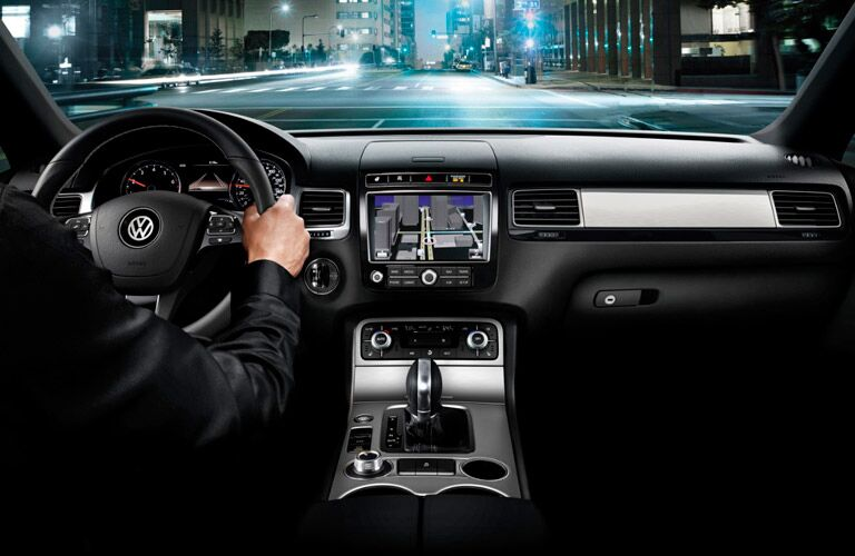 interior of vw touareg with navigation system
