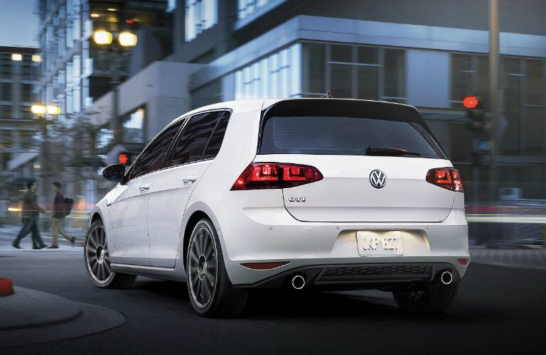 rear view of vw golf gti white