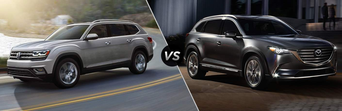 Silver 2018 Volkswagen Atlas, VS Icon and Dark Grey 2018 Mazda CX-9