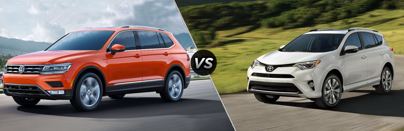 Orange 2018 Volkswagen Tiguan, VS Icon, and White 2018 Toyota RAV4