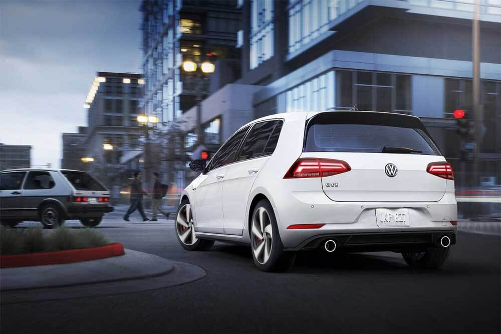 2018 Volkswagen Golf GTI rear view in pure white