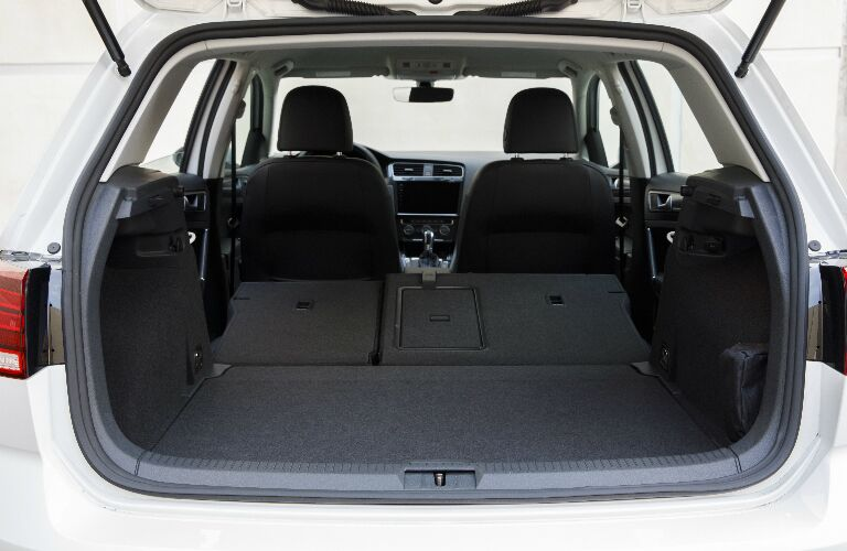 Cargo area of white 2018 Volkswagen e-Golf