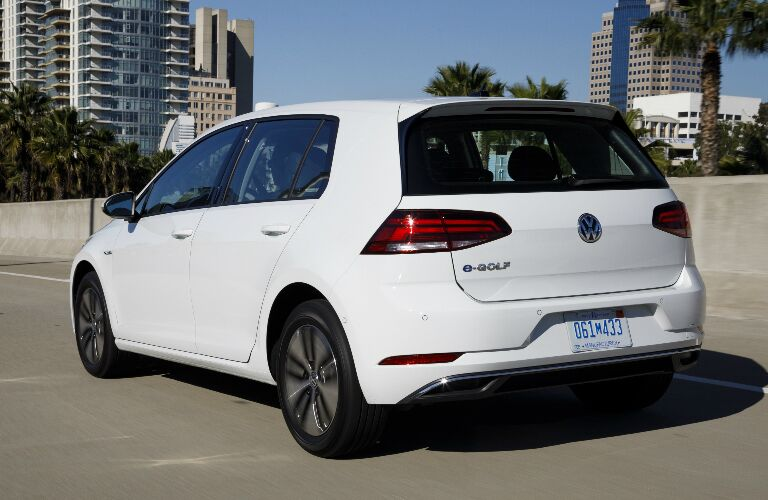 Rear view of white 2018 Volkswagen e-Golf