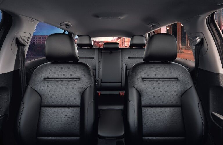 View from front of the black leatherette seats inside the 2019 Volkswagen Golf Alltrack