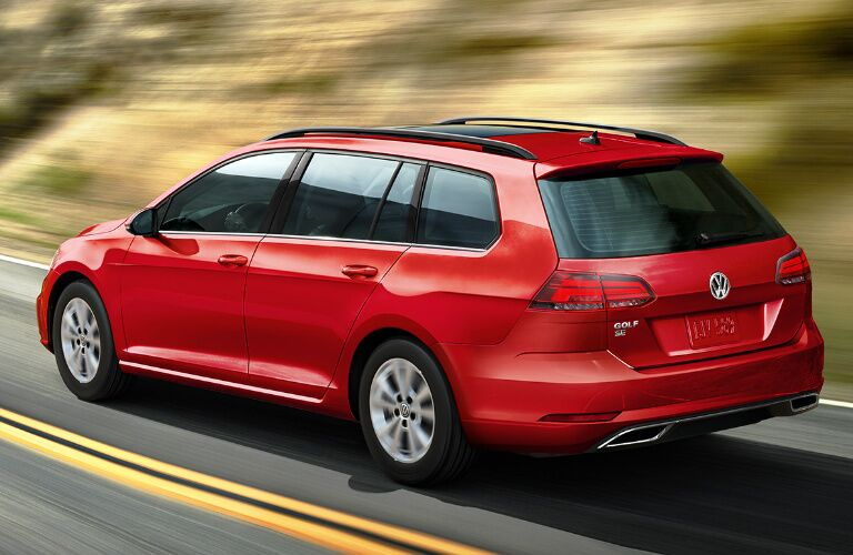 Rear view of red 2019 Volkswagen Golf SportWagen