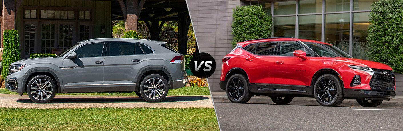 Grey 2020 Volkswagen Atlas Cross Sport, VS icon, and red 2020 Chevrolet Blazer