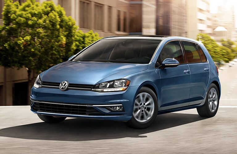 Driver's side front angle view of blue 2020 Volkswagen Golf