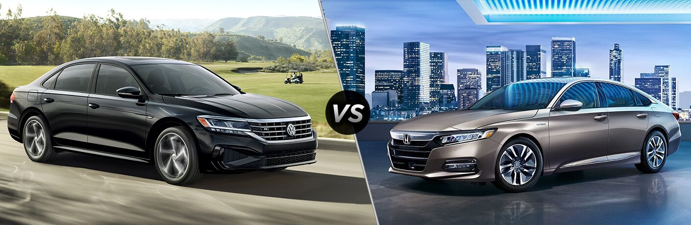 Black 2020 Volkswagen Passat, VS icon, and grey 2019 Honda Accord