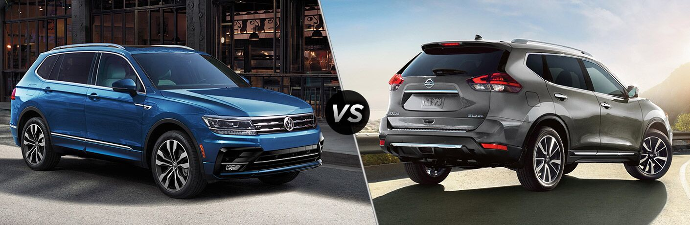 Blue 2020 Volkswagen Tiguan, VS icon, and grey 2020 Nissan Rogue