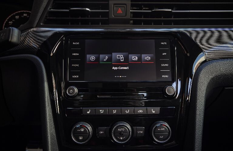 Infotainment system touchscreen and climate control system in 2020 Volkswagen Passat
