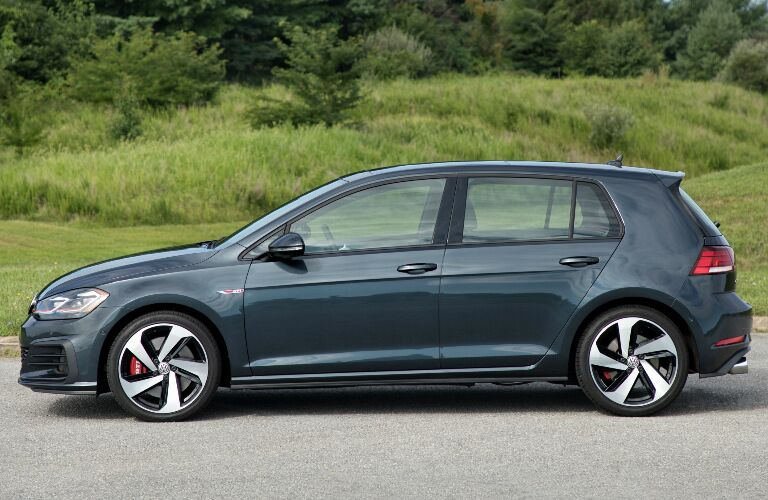 Black 2018 VW Golf GTI Parked near a Forest