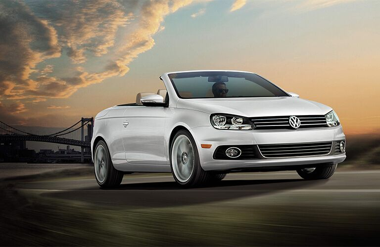 Volkswagen Eos White with Sunset Background