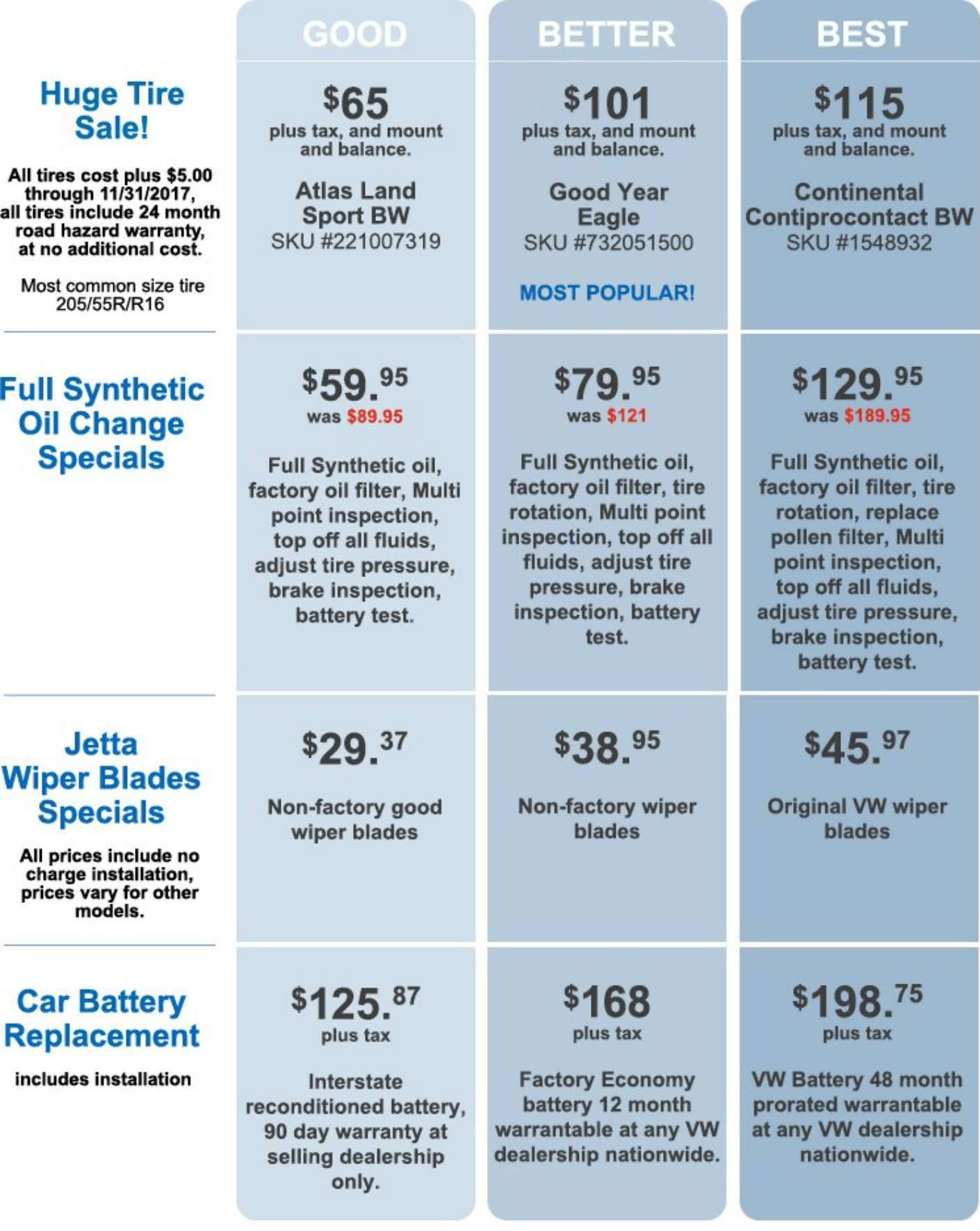 Volkswagen of Santa Monica Three-Tier Pricing for Service Menu