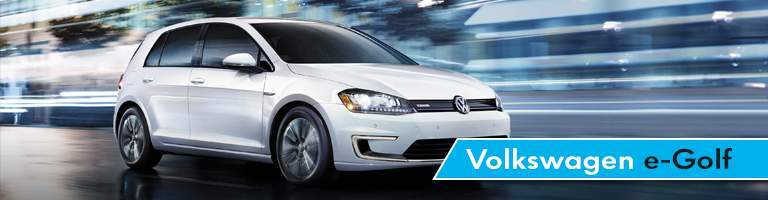 Volkswagen e-Golf Title next to White 2017 Volkswagen e-Golf
