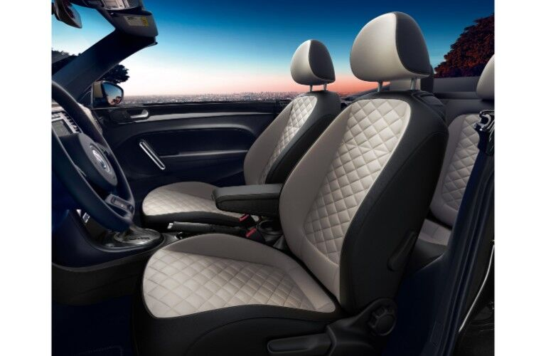 2019 Volkswagen Beetle Final Edition Convertible interior side shot of rhombus cloth and v-tex leatherette seating upholstery