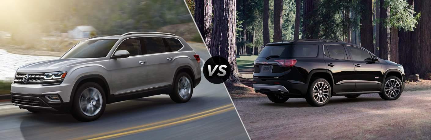 Silver 2018 Volkswagen Atlas set against black 2018 GMC Acadia