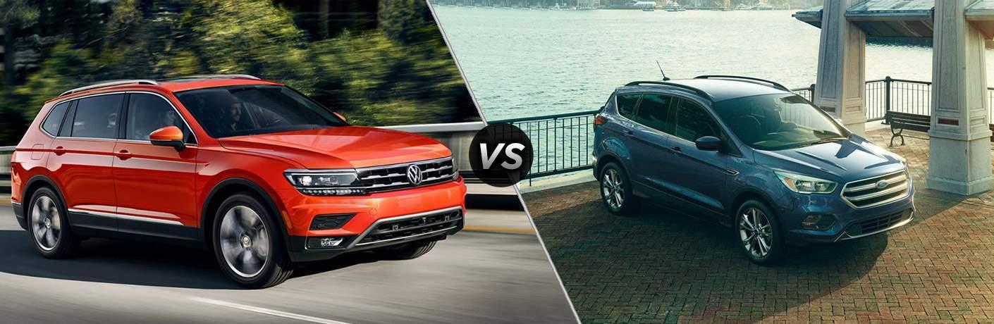 Orange 2018 Volkswagen Tiguan set against blue 2018 Ford Escape
