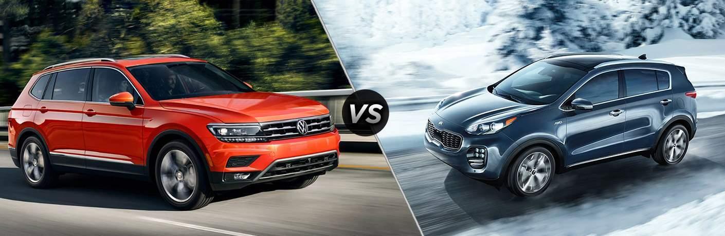 Orange 2018 Volkswagen Tiguan set against dark blue 2018 Kia Sportage