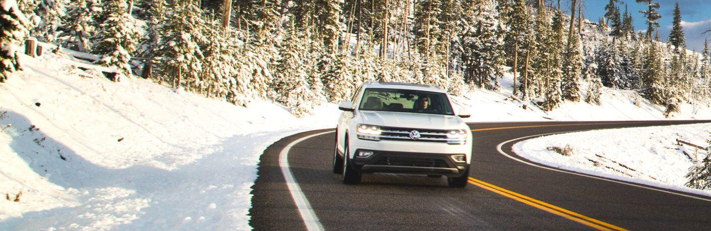 2018 Volkswagen Atlas driving during the winter season